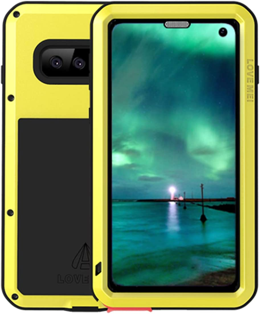 """GFU Tempered Glass Samsung Galaxy S10 Plus Case, Full Body Heavy Duty Shockproof Protection Cover for Samsung Galaxy S10 Plus TPU Silicone Hard Ultra Hybrid Bumper Anti-Scratch (Yellow, S10+(6.4""""))"""