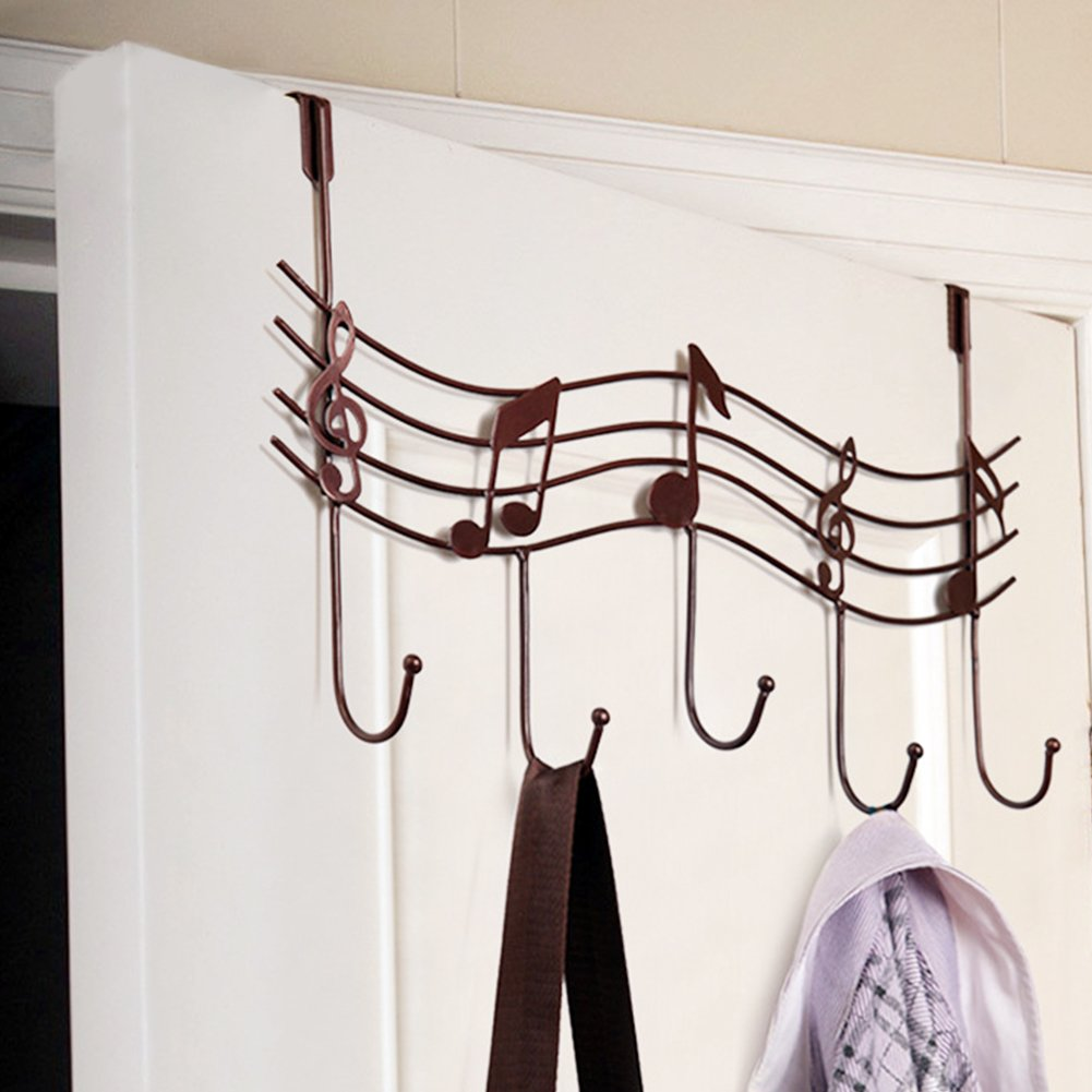 yodaliy Door Hanger, Vintage Music Note Metal Hook, Multifunction Coat Hat Bag Wall Hook Hanger Organizer Holder with 5-Hook for Home Kitchen Bathroom Bedroom(red Copper,Red Copper)