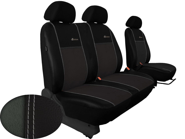 Fü r VITO W 447 maß gefertigter Sitzbezug fü r Bus / Transporter Fahrersitz + 2er Beifahrersitzbank (1+2) ALKANTRA EXCLUSIVE In diesem Angebot DUNKELGRAU POK-TER
