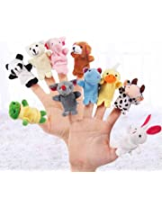 JUYIN 10Pcs Soft Plush Animal Finger Puppets Set,Family Finger Puppets Cloth Doll Baby Educational Hand Cartoon Animal Toy,Baby Story Time Velvet Animal Style