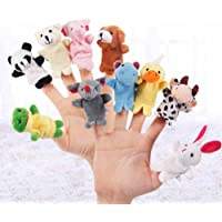 JUYIN 10Pcs Soft Plush Animal Finger Puppets Set,Family Finger Puppets Cloth Doll Baby Educational Hand Cartoon Animal Toy,Baby Story Time Velvet Animal Style