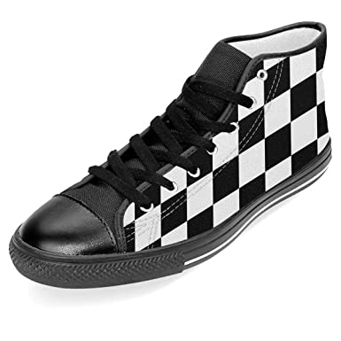 68abd6717b2db Amazon.com: Racing Checkered Flag Unisex High Top Rubber Sole ...