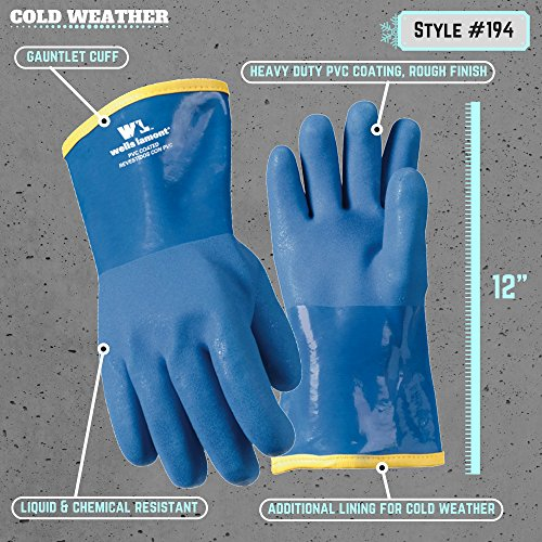 """Wells Lamont 194 Liquid/Chemical Resistant Heavy Duty PVC Winter Work Gloves with Gauntlet Cuff, 12"""", Blue"""