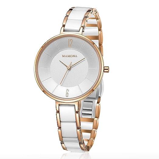 Amazon.com: MAMONA Reloj de pulsera con carcasa de acero ...