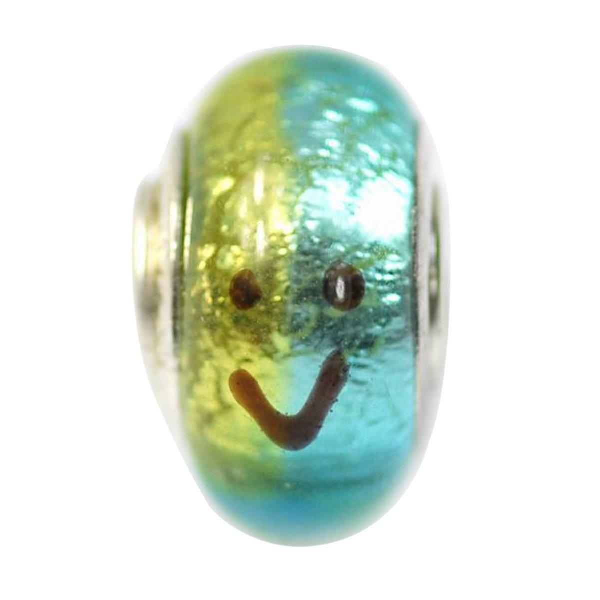 De Buman Glass Blue and Yellow Smile Fashion Charm Bead