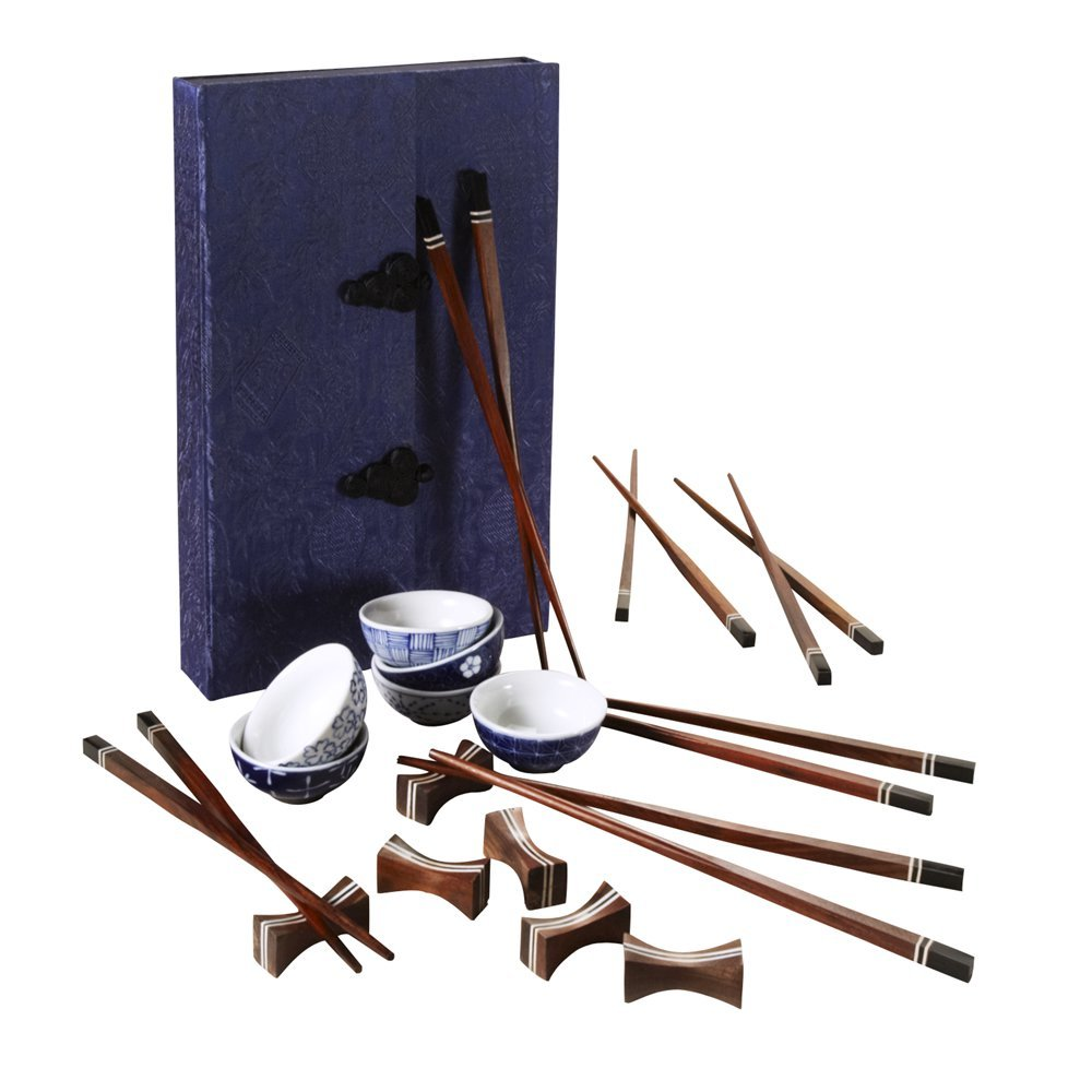 Rosewood And Buffalo Horn Chopsticks Set For Six In Silk Box 'Hand-Painted Sushi Set'