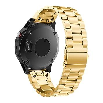 Pinhen Correa de Repuesto para Reloj Inteligente Garmin Fenix 5, 22 mm, Acero Inoxidable, Fácil de Instalar, para Garmin Fenix 5/Forerunner 935/Aproach S60: ...