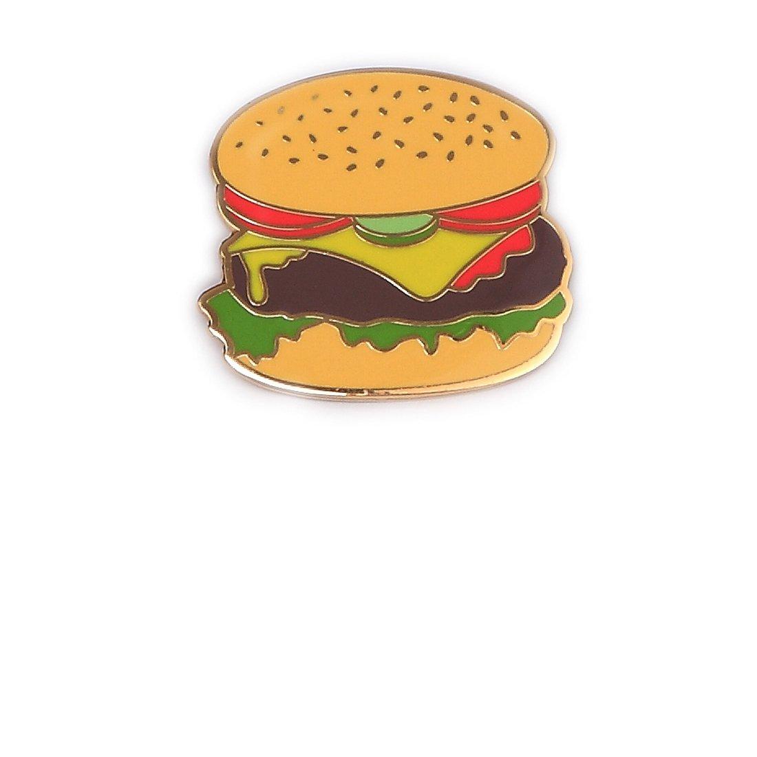 Last Valentine Hamburger Enamel Pin Nickel Plated Color Orange Lapel Pin