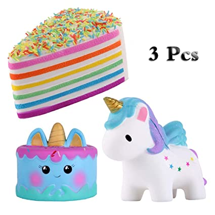Amazon Com Anboor Squishies Triangle Rainbow Cake Horse Unicorn