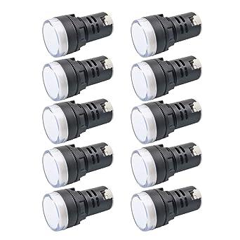 Indicator Light AC//DC 12V 20mA LED Flush Panel Mount Blue 10 Pcs