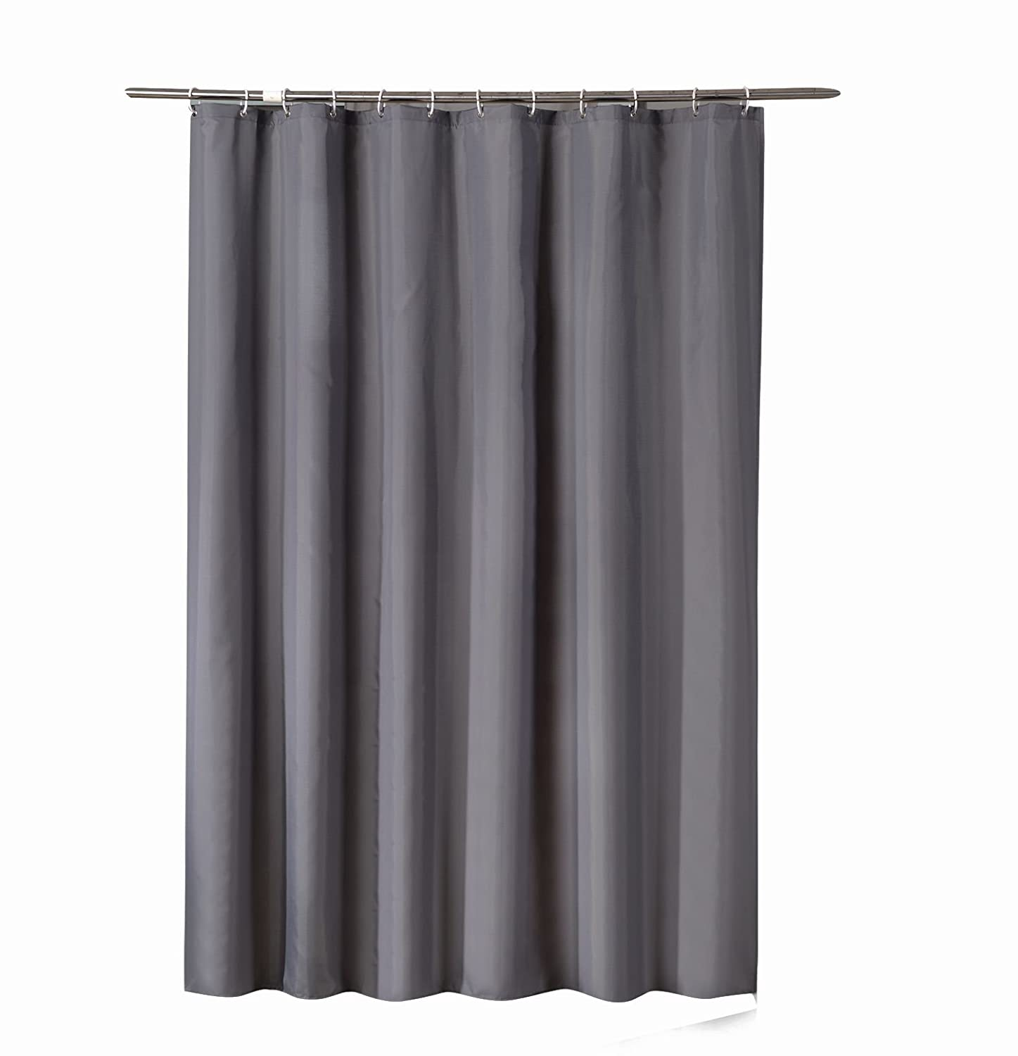 Sfoothome 90cm Wide x 180cm Long Black Shower Curtain ,Waterproof Polyester Fabric Shower Curtain Liner ,Midew Resistant Washable Bath Curtain For Bathroom With Anti Rust Grommets , Plastic Curtain Rings And Heavy Weighted Hem