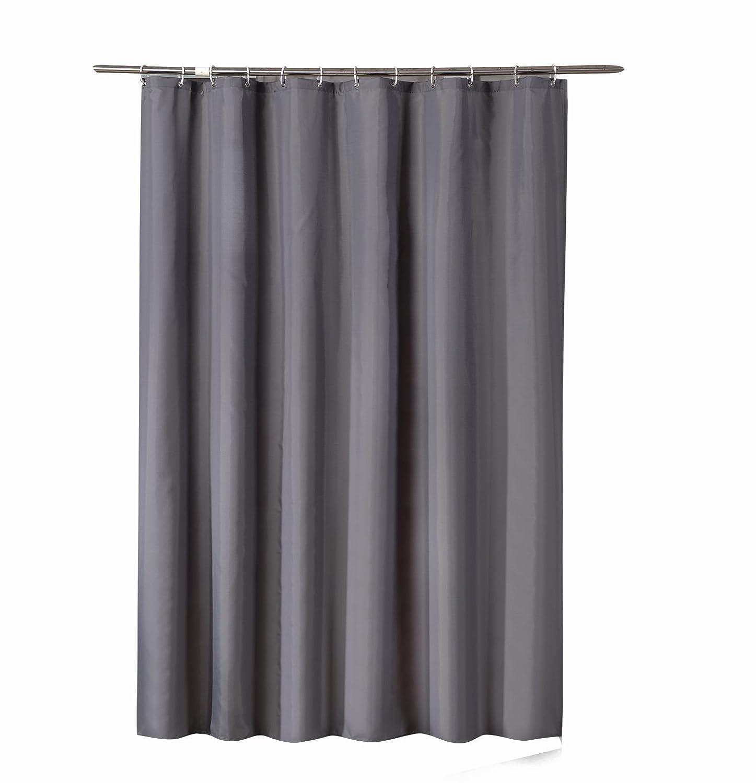 Sfoothome, tenda doccia in tessuto poliestere impermeabile, resistente alla muffa, lavabile, tenda per il bagno con occhielli antiruggine, anelli in plastica e pesante bordo rinforzato, Black, 90 x 180 cm