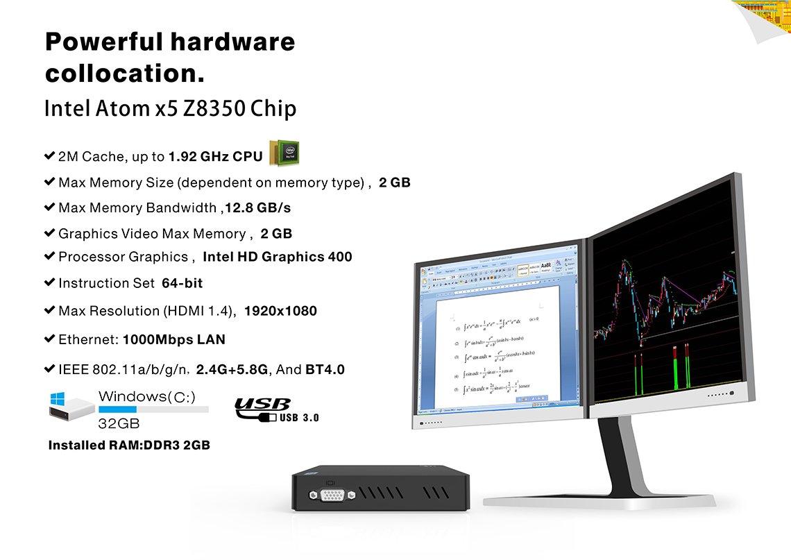 Mini PC Linux System - Maxesla Z83V Fanless Potable Desktop Computer with  Dual Frequency Display, 2GB RAM 32GB Storage, Intel Atom x5-Z8350  Processor,