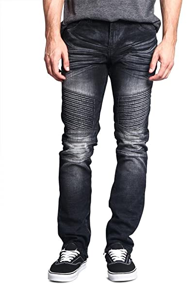4049dd425eb Victorious G-Style USA Men's Faded Denim with Inseam Ankle Zipper Biker  Style Premium Quality