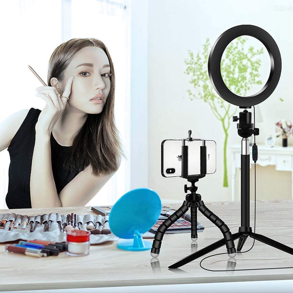 XYSQWZ 6 Inch LED Ring Light with Tripod Dimmable Ring Light 3 Color Modes and 10 Brightness USB Powered Mobile Phone Holder for YouTube Videos and Makeup