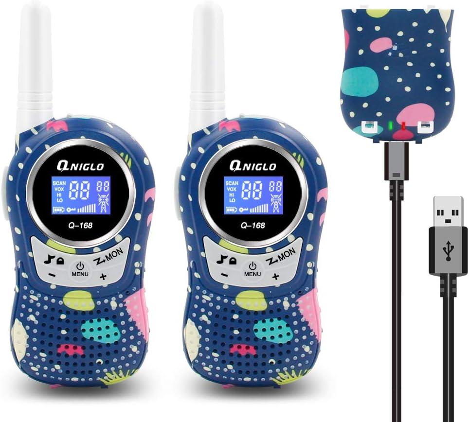 QNIGLO Q168Plus Walkie Talkie Niños Recargable,8 Canales Radio Bidireccional 2 Kms de Largo Alcance PMR,Equipo de Espía,Mejores Juguetes Regalos,con Baterías de Litio(Q168PlusCamoBlue)