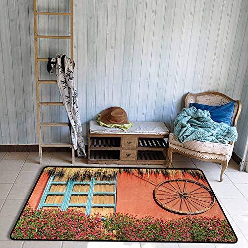 Bath Rug 3D Digital Printing pad Barn Wood Wagon Wheel Country House in Ecuador Red Wall Window Summer Flowers Straw Roof Hard and wear Resistant W67 xL79 Multicolor