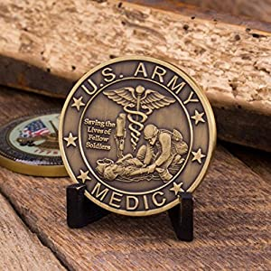 Army Medic Challenge Coin, Unreal 3D US Army Military Coin. Designed by Military Veterans! Officially Licensed! Amazing Army Medic Custom Coin! by Coins For Anything Inc
