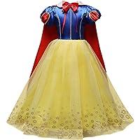 Carnevale Cosplay Biancaneve Principessa Ragazze Abito Costume Vestito per Cerimonia Pageant Festa Compleanno Travestimento Bambine Lungo Scialle abbronzante Abito da Fiore nozze Gonna Battesimo