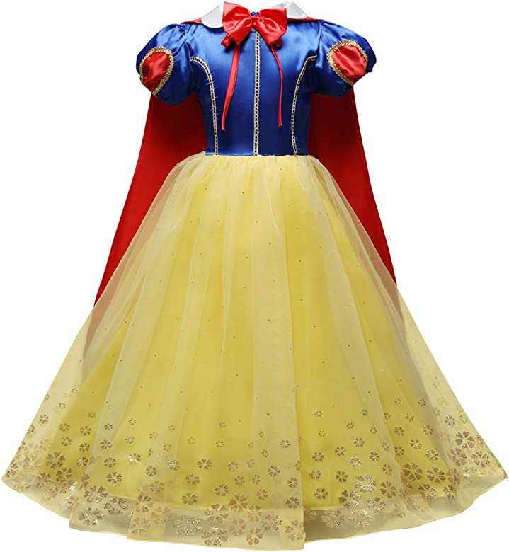 UK Kids Girls Christmas Costume Princess Birthday Party Fancy Dress With Cape