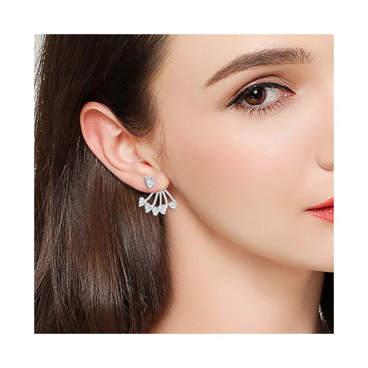 S925 Sterling Silver leverback Lotus Heart Clasp Stud Dangle Drop CZ Jacket Simple Chic Back Earrings for Women Girl Jewelry