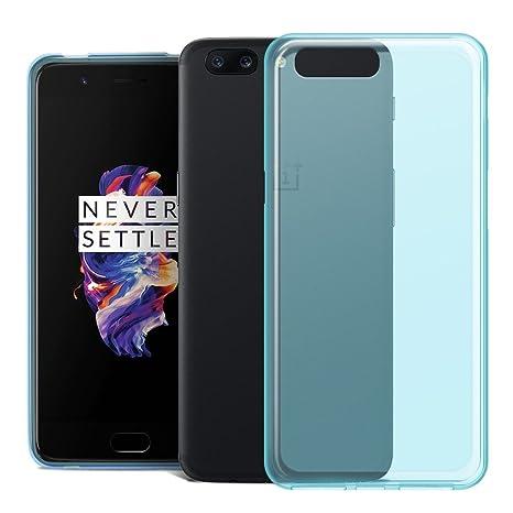 RIFFUE Funda Oneplus 5, One Plus 5 Carcasa Transparente Silicona Ultra Slim Suave Delgada Case Protectora de Gel [Matte] para Oneplus 5 - Azul