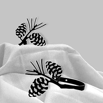 iron pine cone curtain hold tie backs set of 2black metal
