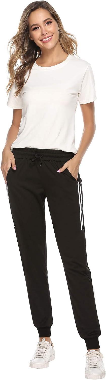 Sykooria Femme Pantalon de Sport Longue Coton /à Rayures avec Cordon de Serrage pour Jogging Running Fitness Training