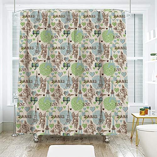 scocici Bath Curtain Suit Bathroom Waterproof Curtain Bath Curtain,Paris,Eiffel Tower Love Birds Rose Blooms Romantic Nostalgic Graphic Decorative,Cream Pale Blue Brown Lime Green,70.8