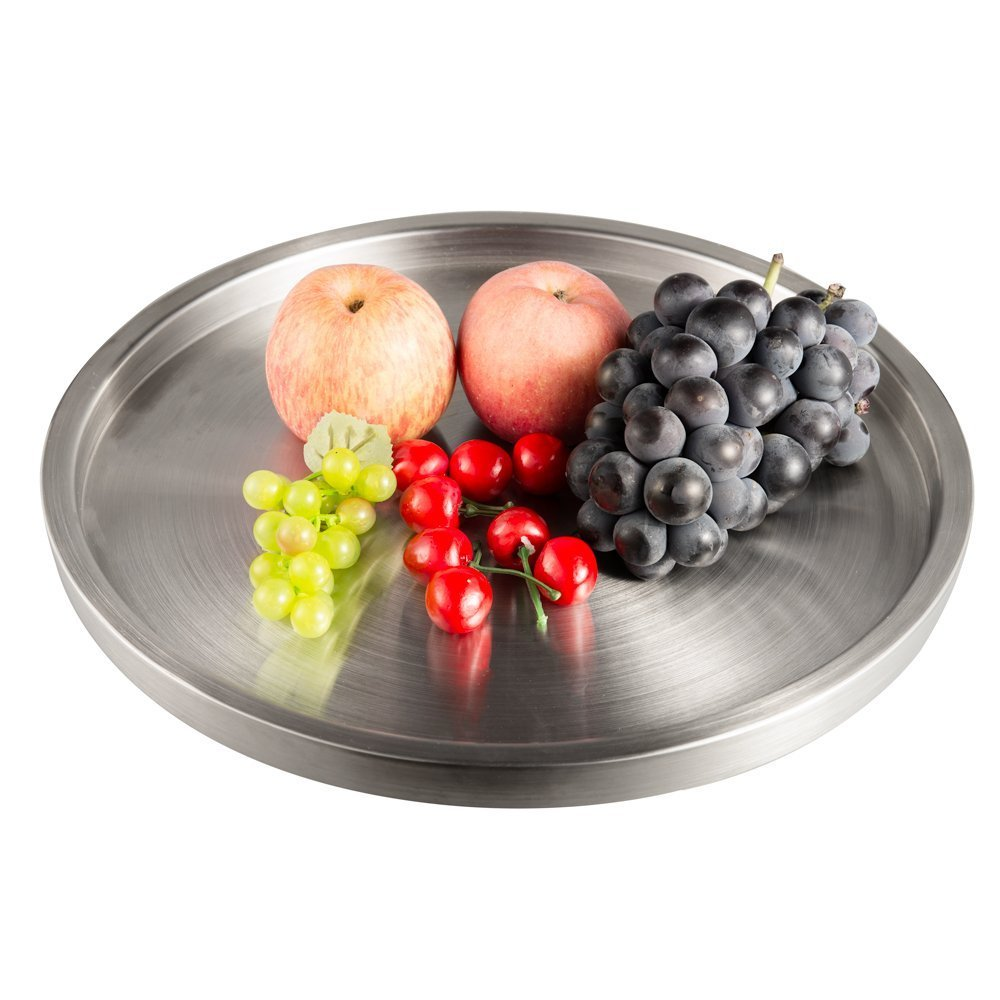 IMEEA Serving Tray Plate Large SUS304 Stainless Steel Round for Home, Bars, Restaurant, Parties (15inch)