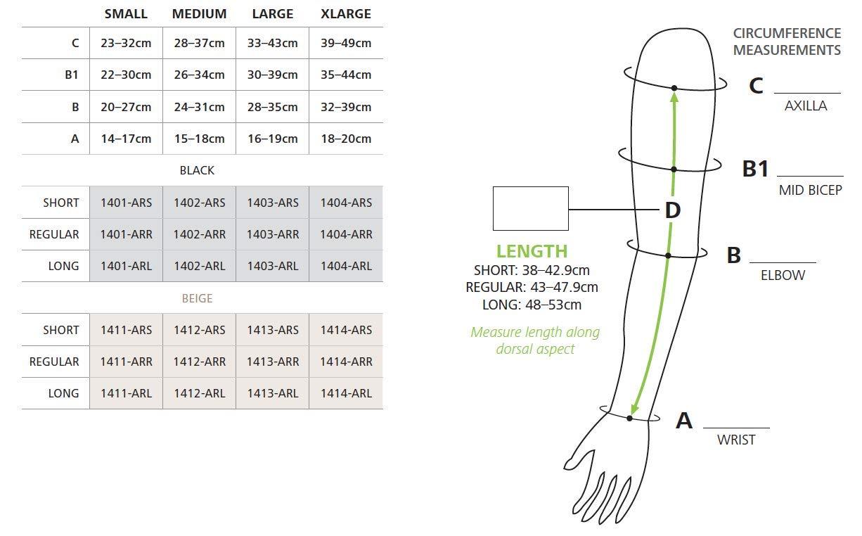 Sigvaris Compreflex Arm Sleeve Wrap Beige Medium Reg Reg 1412-ARR