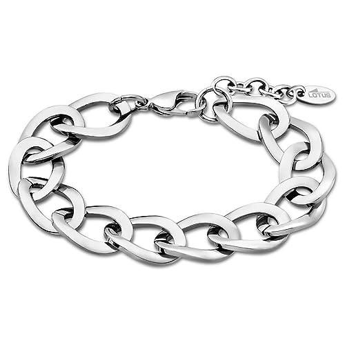 Lotus Style Pulsera para mujer de acero inoxidable plata ...