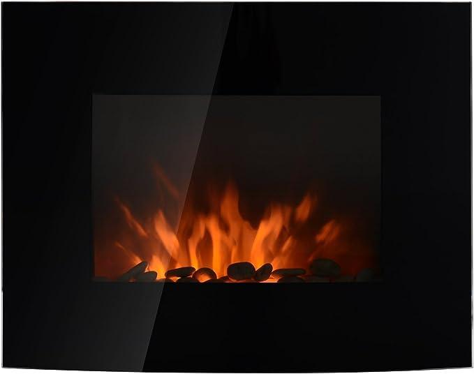 HOMCOM Chimenea Eléctrica Tipo Estufa de Pared con Efecto Llamas Atmosféricas y Luz LED de 7 Colores con Mando A Distancia 1000W/2000W 89,2x13,5x48cm: Amazon.es: Hogar