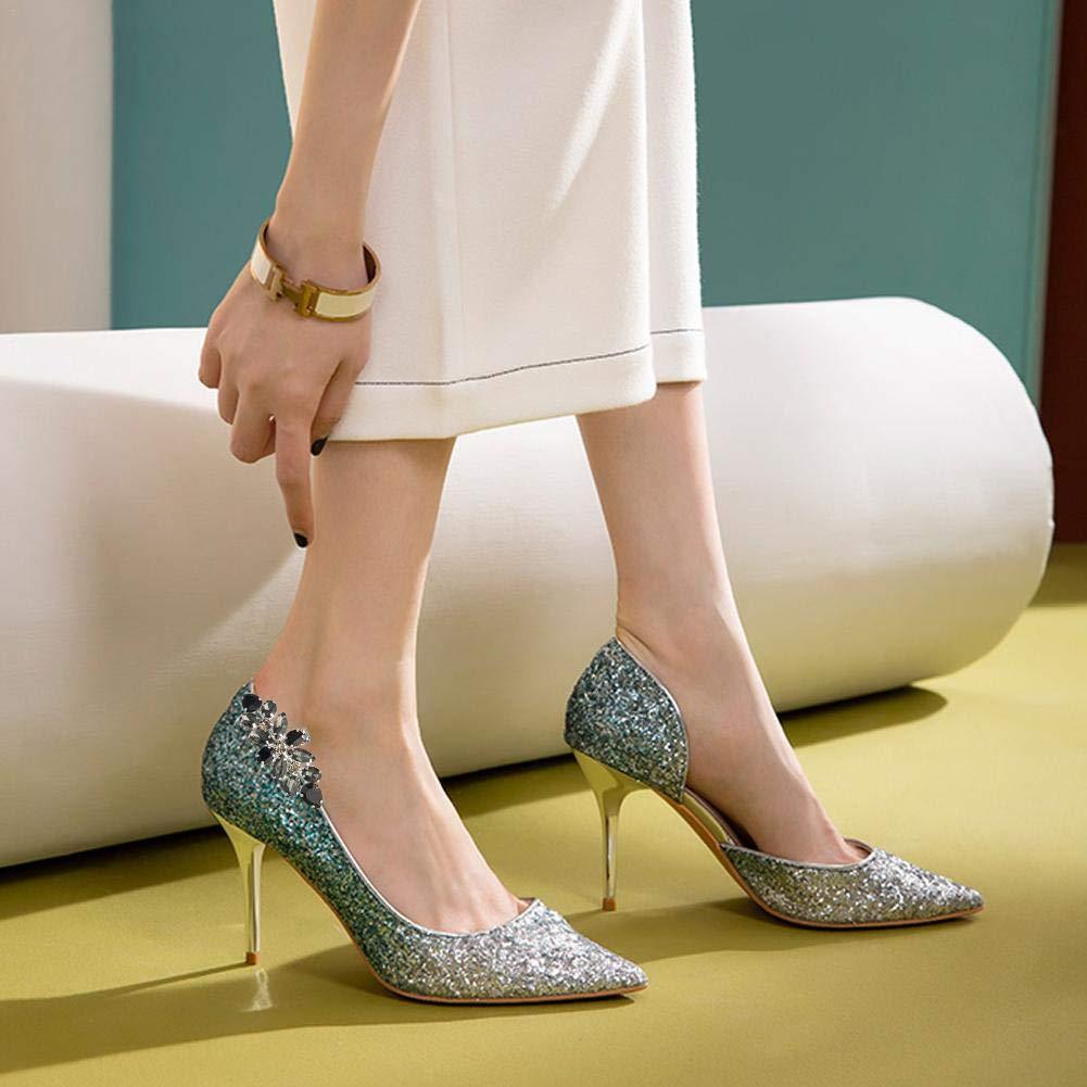 Zay 2PCS strass scarpa fibbia clip in bianco e nero pieno cristallo scarpa clip Accessori fibbia scarpa in vetro adatto per le donne tacco alto in pelle sandali scarpe