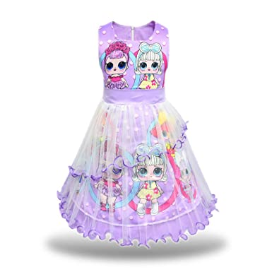 Pandamo Girls Tutu Tulle Princess Dress Doll Digital Print Sleeveless Gown Dress  for LOL Doll Surprised ef28d6027a01