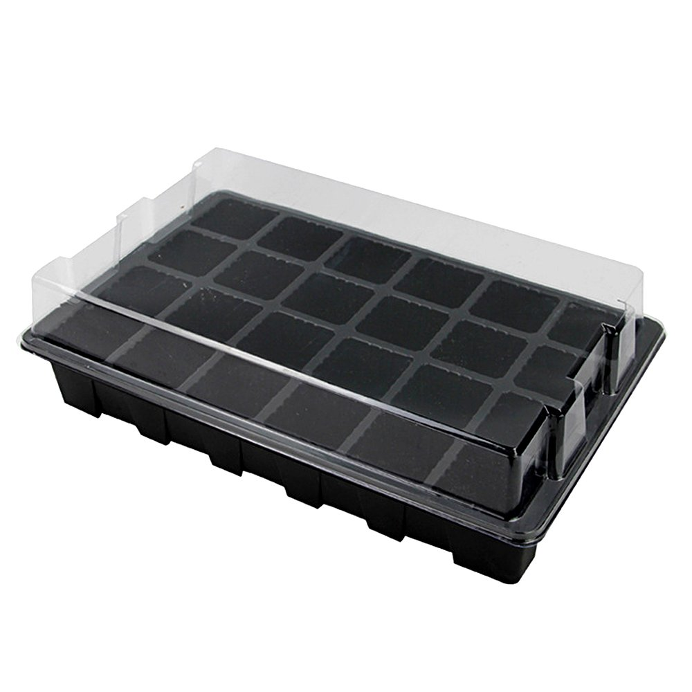 Seed Starter Germination Kit Plant Grow Green House with Humidity Dome,24-cell Seedling Insert and Watertight Base Tray (10 pcs)