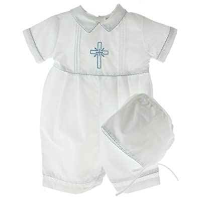 Carriage Boutique Boys White Christening Outfit Hat Set Blue Cross on Chest