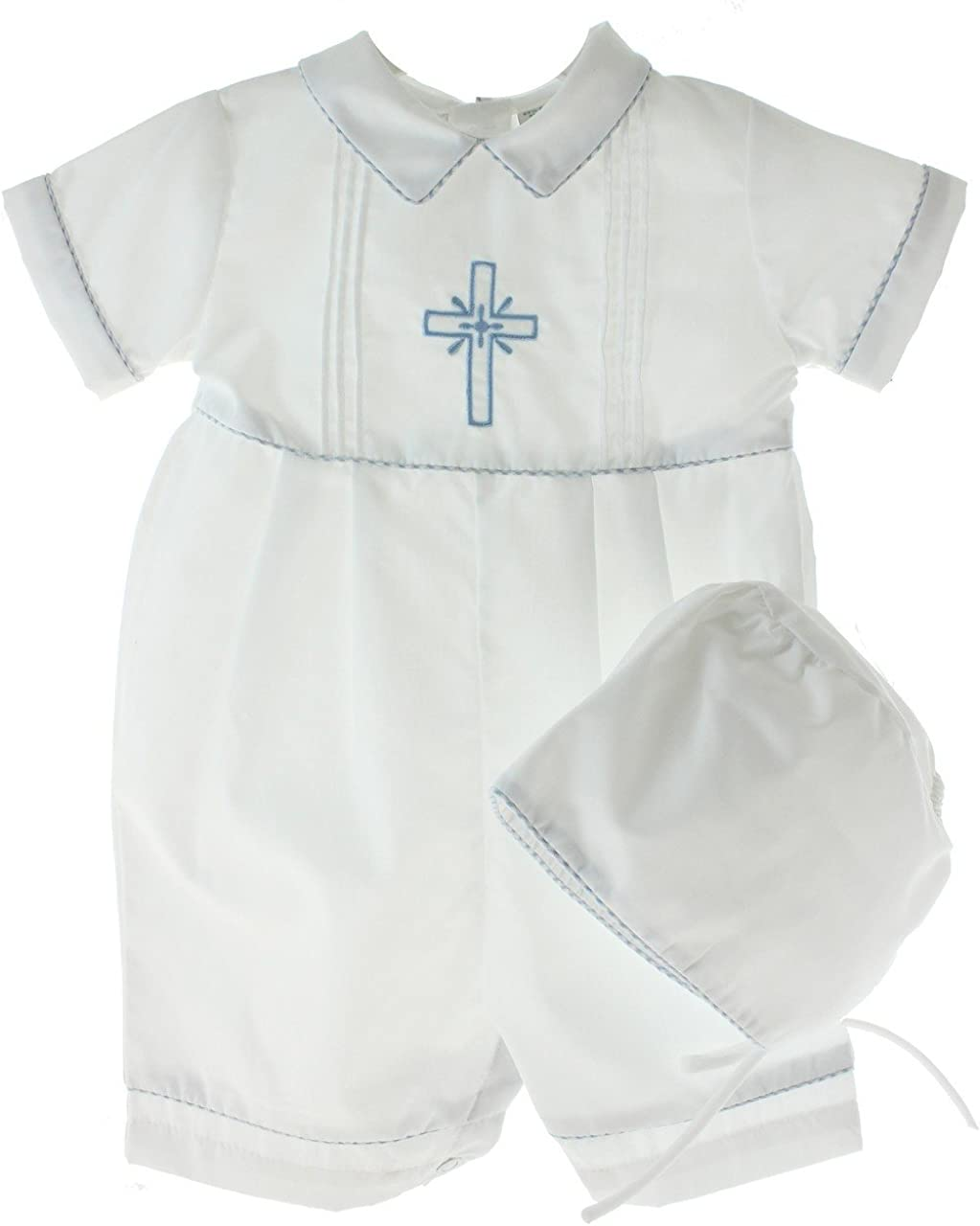 Blue or Gold Cross and Hat Boys White Cotton Knit Christening Baptism Longall w//White