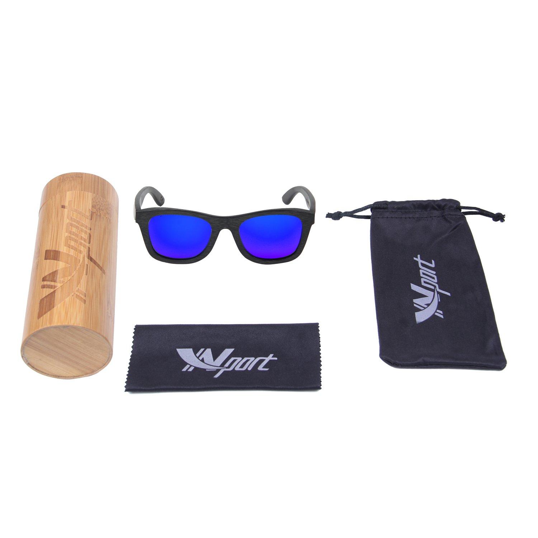 Ynport Crefreak - Gafas de sol con un diseño clásico y con estructura de madera de bambú de color negro, con protección 100% a los rayos UV, hombre, azul, ...