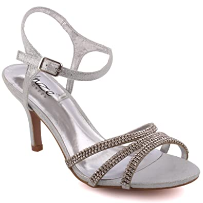f2adb32eb06 Unze Women Ladies  Folio  Metallic Diamante Buckled Embellished Ankle Strap  Open Toe Mid High Heel Slip on Evening