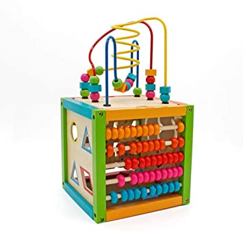 Amazon Com Wooden Puzzle Beads Learning Toy Box Building Block