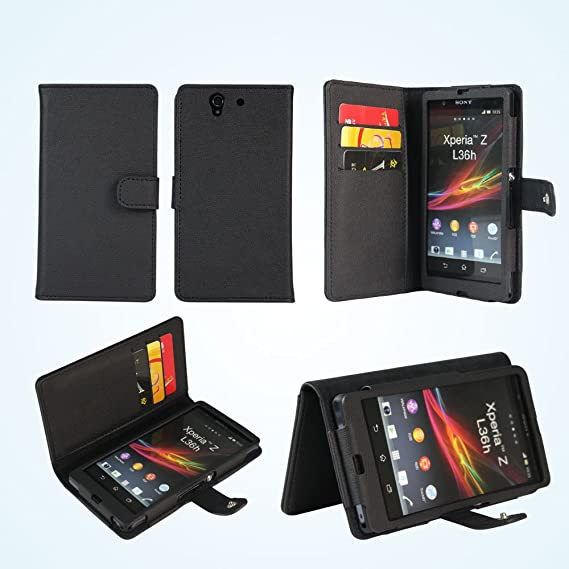huge selection of b247d a3e00 AceAbove Wallet Case for Sony Xperia Z, and Folio Stand (Black)