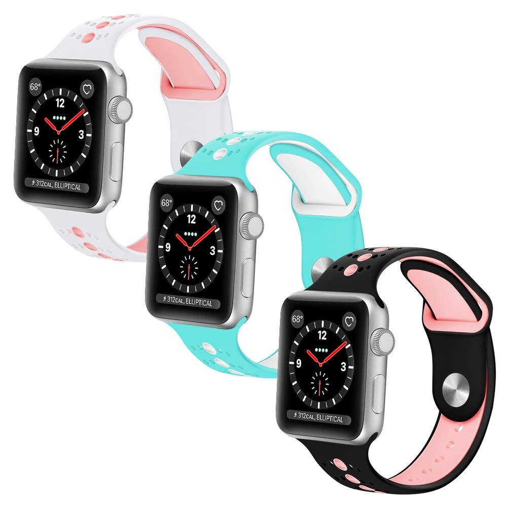 KOLEK Compatible with Apple Watch Bands, Accessories Classic Band Compatible with Apple Watch Series 4/3/2/1 38mm / 40mm, 3 Pack