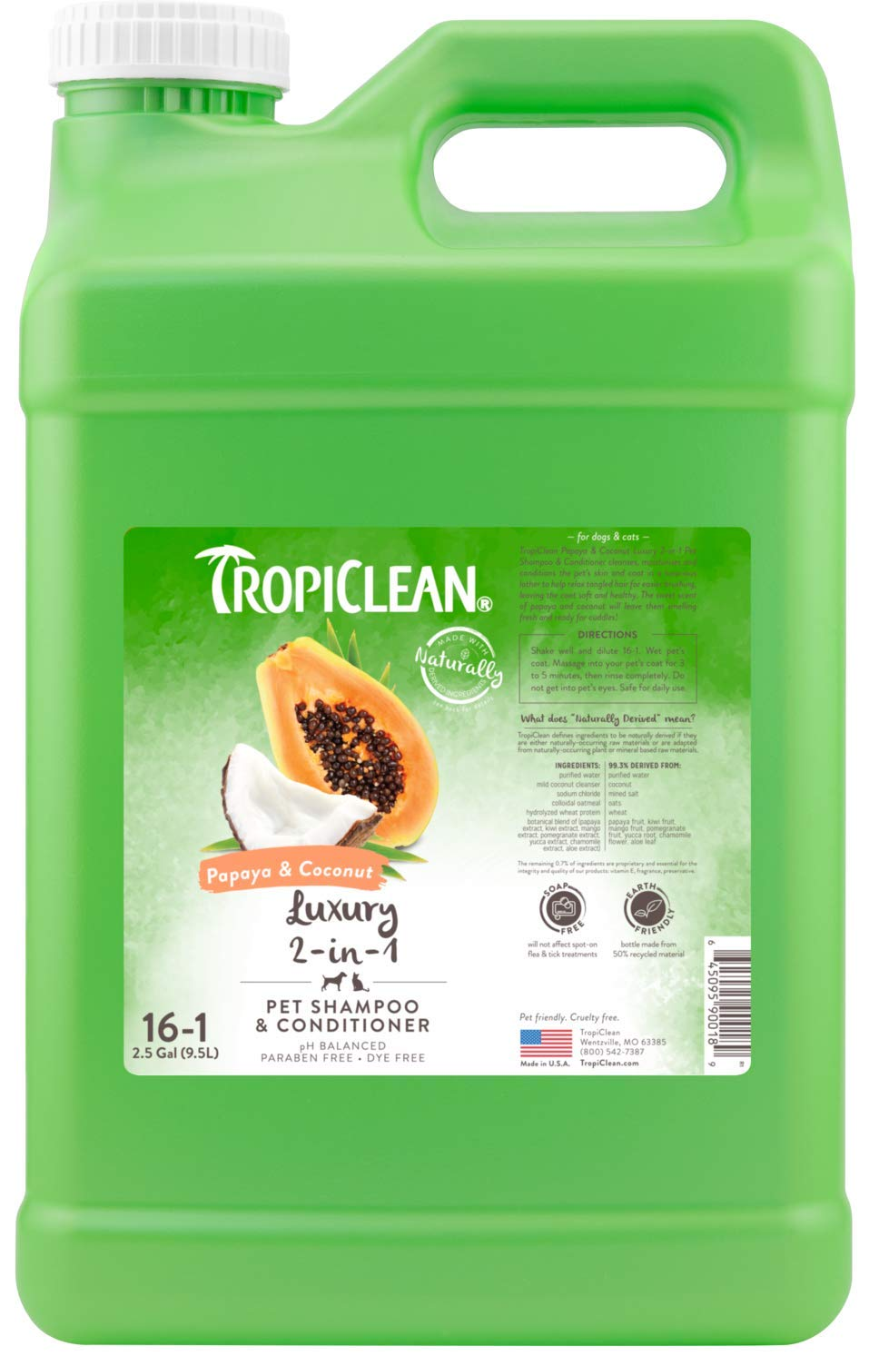 TropiClean Papaya & Coconut 2-in-1 Pet Shampoo, 2.5 Gallon