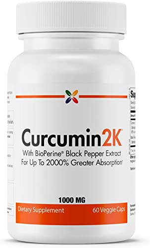 Stop Aging Now - Curcumin2K Formula with BioPerine Black Pepper Extract for Up to 2000 Greater Absorption - 60 Veggie Caps