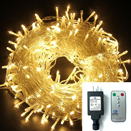 [Remote & Timer] Warm White 328ft/100m 600 LED Fairy String Lights 8 Modes 24V UL-Listed Plug-in Christmas Tree Xmas Party Garden Decorative Lighting