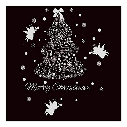 sworna holiday series sn 62 merry christmas tree angel snowflakes removable vinyl diy wall window - Christmas Decals For Glass