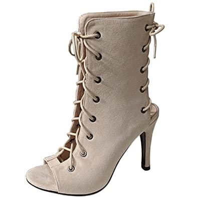 VulusValas Mujer Moda Gladiador Zapatos Cordones: Amazon.es ...