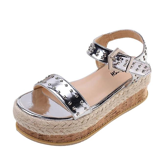 68ba6bcf74ec33 refulgence Summer Rivet Sandals Europe and America Belt Buckle Platform  Wild Female Beach Sandals Shoes(