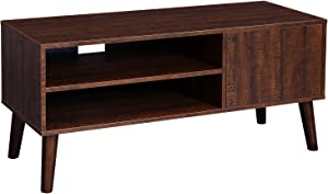 VASAGLE Retro TV Stand, TV Console, Mid-Century Modern Entertainment Center for Flat Screen TV, Cable Box, Gaming Consoles, in Living Room, Entertainment Room, Office, Walnut Color ULTV09BY